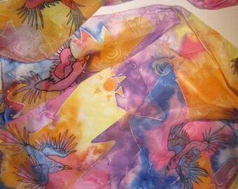 Silk scarf with flying birds