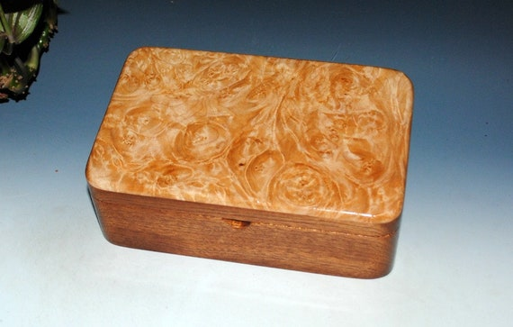 Handmade Wood Box, Gift Box, Treasure or Keepsake Box - Stash Box Mahogany and Maple Burl - Jewelry Box, Wooden Box-Storage Box-Handmade Box
