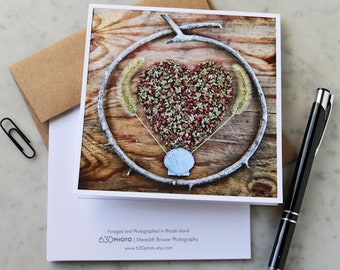 Heart Shell-ter Mandala Note Card with 5x5 square envelope, blank inside
