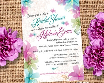 Soft  Tropical Orchids Floral Bridal Wedding Shower Invitation; 3 color combinations, Printable, Evite or Printed (US Only) Invitations