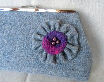 Pale grey- blue Harris Tweed Clutch Bag with flower corsage