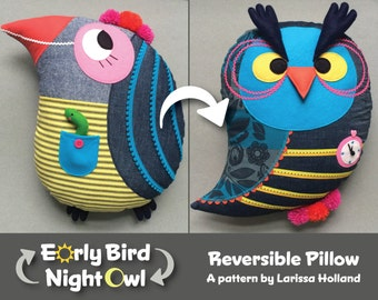 Early Bird/Night Owl Reversible Pillow PDF Pattern
