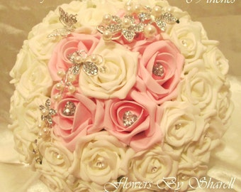 Romance Wedding Bouquet pink and ivory brooches