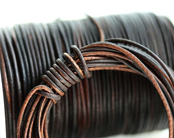 1mm Round Brown Natural Leather cord - Vintage Brown distressed leather 10 feet, LC061