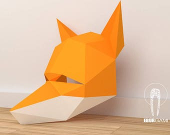 DIY Fox Mask Papercraft, Fox Mask Model, Instant Download, Animal Mask, Animal Print, Eburgami, PDF Download, Party Mask, Gift, Costume