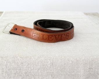 Levi's leather belt, vintage brown belt with buckle