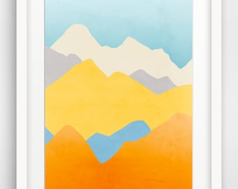 Colorful Abstract Art Print, Large Wall Art, Mountain Print, Abstract Landscape, Oversized Wall Art, Blue and Orange Art