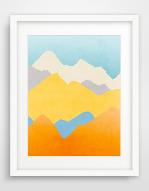 Colorful Abstract Art Print Large Wall Art Mountain Print