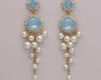 Blue Opal Earrings Chandelier Bridal Earrings Swarovski Rhinestone Wedding Earrings for Brides, Ivory Pearl Earrings something blue