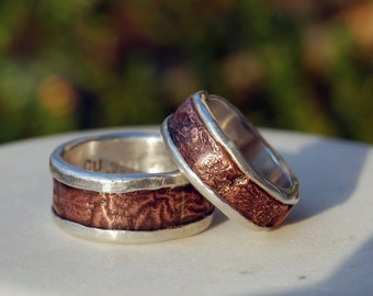 The PERFECT WEDDING RING Set - Architectural Ring-Copper Ring - Ring Band - Textured Band - Wedding Band - Unisex Style Ring