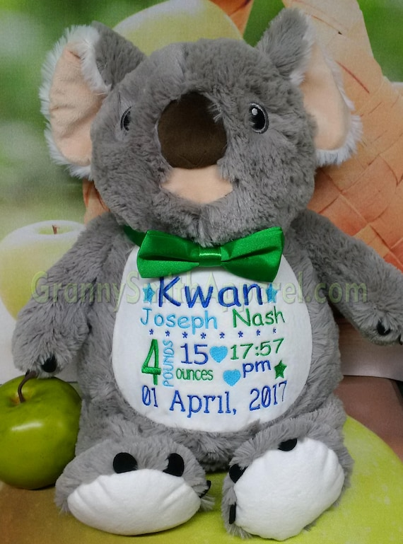 "GRAY KOALA 12"" personalized plush embroidered as requested. Baby, newborn, shower, christening, special event, holiday. Subway art"