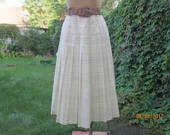 Pleated Skirt / Wool Skirt / Woolen Skirt / Wool Skirt / Poly /  Skirt Vintage / Tartan / Plaid / Skirt Size EUR44 / UK16 / Elastic Waist
