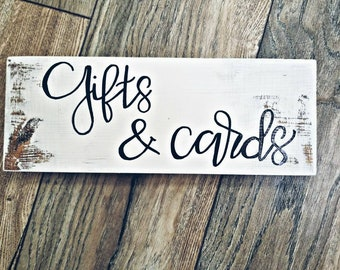 Self standing rustic Gifts and Cards Wedding sign