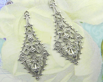 Antiqued Silver Filigree, Earring Dangle, Brass Pendant, Brass Stamping 26mm x 55mm - 2 pcs. (sl128)