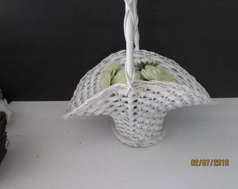 Vintage Wedding flower girl basket, You pick color of ribbon
