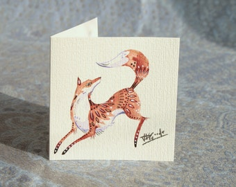 Leaping Fox Hemp Card (Hand Painted)