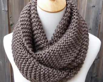 Taupe Infinity Scarf - Barley Infinity Scarf - Chunky Knit Scarf - Circle Scarf - Ready to Ship