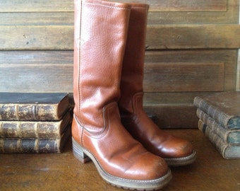 70s Leather Riding Boots Cognac Brown Handcrafted Levi's Vibram Soles Size 8  8,5 US