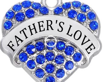 1 Blue Rhinestone Heart Father's Love Charms Antique Silver Dad Daddy Pa Family Parent Word Bangle Necklace Bookmark Key Chain Pendants 1375