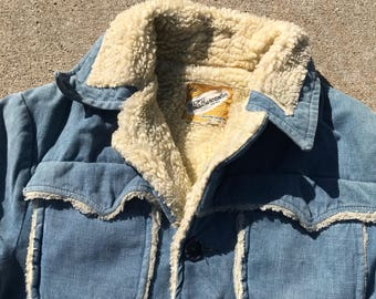 The Vintage Blue Weather Caster Sherpa Lined Pocket Jacket
