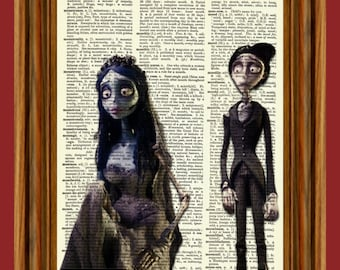 The Corpse Bride Upcycled Dictionary Art Print Poster