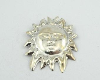 Let The Sunshine!!  Vintage Lightweight Sun Sterling Silver Brooch  #SUN-BR2