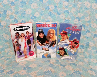 90s Comedy VHS Set. Clueless, Wayne's World, A League Of Their Own. Hilarious 90s Cult Classic 3 VHS Tape Set. 90s Movie Night Girl Party