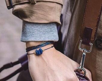 Blue cord and blue stones bracelet