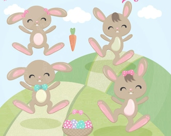 Easter Bunny Clipart, Easter Clipart, Cute Bunny clipart, Bunny Digital Papers, Easter Digital Papers, Commercial License Included