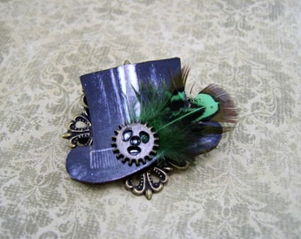 Top Hat Steampunk Brooch with Green & Brown Feather