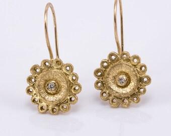 solid gold earrings,flower earrings,delicate gold earrings,dangle earrings,lovely flower earrings,bridal gold earrings,gold diamond
