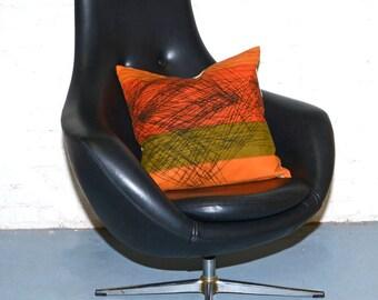 SOLD Mid Century Eames Era Overman 1960's High Back Swivel Chair w Chrome Base