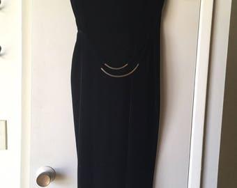 Slinky Black Velvet Dress