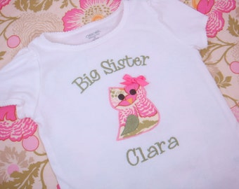 Big Sister Shirt - Big Sister Owl Shirt - Big Sis Shirt  - Little Sister Bodysuit - Little Sister Shirt