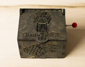 Game of thrones music box,handmade wooden music box Game of Thrones, Game of Thrones Stark, Christmas gifts, throne of swords