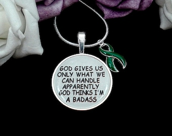 DG-2 God Thinks Im A Badass GREEN -Liver Cancer, Kidney Disease, Organ Donor, TBI Traumatic Brain Injury  Awareness Necklace #P7