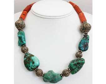 Antique Mediterranean Coral & Tibetan Turquoise Stone and Silver Bead Necklace