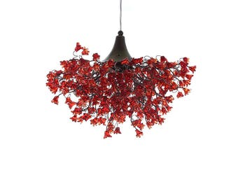 Romantic Chandeliers with Red flowers, red lamp, hanging lamp for living room, bedroom, Dining Room. unique lamps