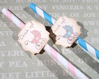 Fun Baby shower party straws - Set of 12 - Drink Up - Reveal Shower - Blue - Pink - Vintage Baby Carriage