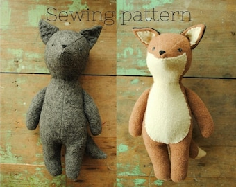 Fox and wolf stuffed animal doll sewing pattern / soft toy tutorial template DIY