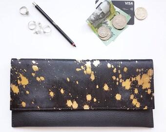 Minimalist Clutch - Cowhide - Black Gold Fleck