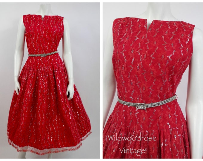 1950's Red Lace Tea Dress - Christmas - Chantilly Lace  - 50's Cocktail Dress - Pin Up Girl - Vintage Prom  - Valentine's Day
