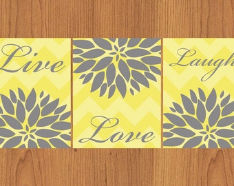Live Laugh Love Floral Flower Burst Grey Yellow Chevron Bathroom Spa Wall Art Decor 8X10 Print Matte Finish (121)