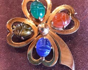 Vtg Gold Filled Scarab Shamrock Clover Pin