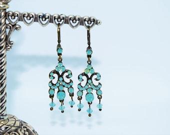 Chandelier Drop Earrings - Vintage Pale Blue Stones