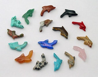 Ten Gemstone Dolphin Fetish Beads Zuni Style Southwestern Totem Animal Power Balance Dignity Grace Healing Fishing Ocean Porpoise Fish