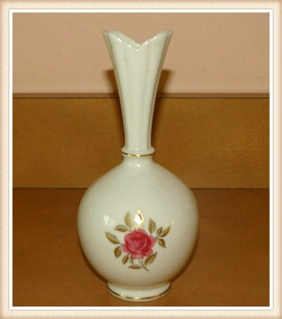 Lenox Rose Vase 24 K Gold Trim Hand Decorated Vintage