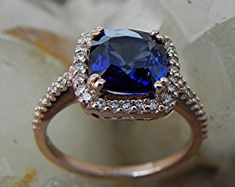 AAAA Manmade Cushion cut Blue Sapphire   8x8mm  2.50 Carats   in 14K Rose gold Halo engagement ring with .30 carats of diamonds H88 MMM