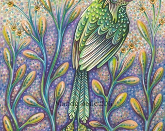 """Abundant In Strength - an 8 x 10"""" ART PRINT of a unique green bird meant to inspire and act as a reminder to be strong and  kind to yourself"""
