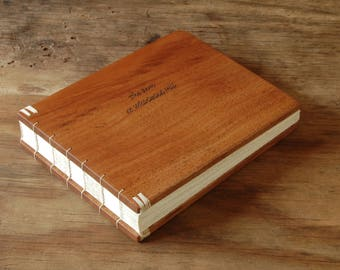 Vacation Home or Cabin Guestbook - lake house - mountain home - engraved mahogany wood guest book rustic gift personalized - made to order